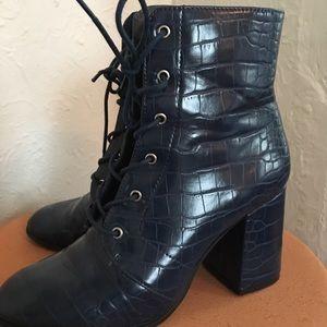 Blue Faux-Croc Lace Up booties